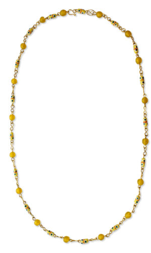 Yellow African Trade Beads Necklace by SHIKHAZURI