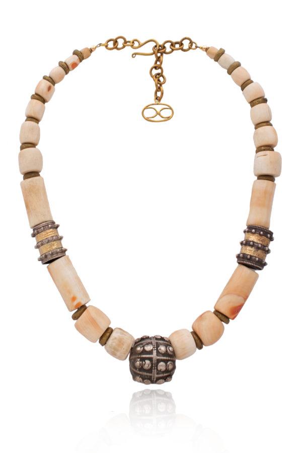 Antique Yemeni Silver Bead Necklace by SHIKHAZURI