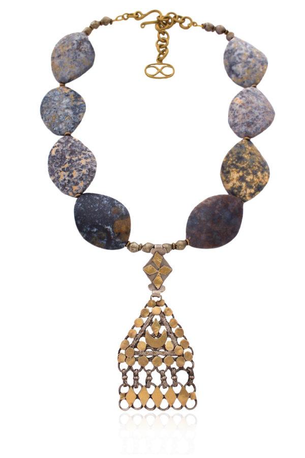 Statement Gold Silver Omani Triangle Pendant Necklace by SHIKHAZURI