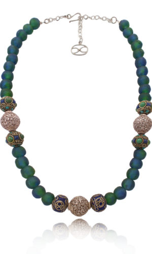 Tibetan Beads Statement Fusion Necklace by SHIKHAZURI