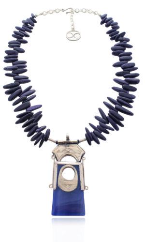 Blue Agate Tuareg Amulet Necklace by SHIKHAZURI