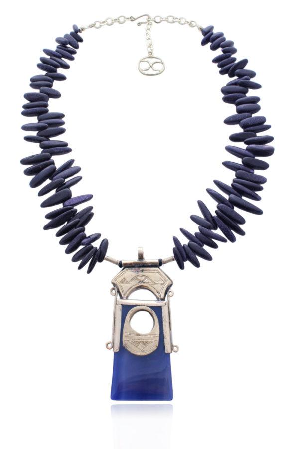 Blue Agate Tuareg Amulet Necklace by SHIKHAZURI