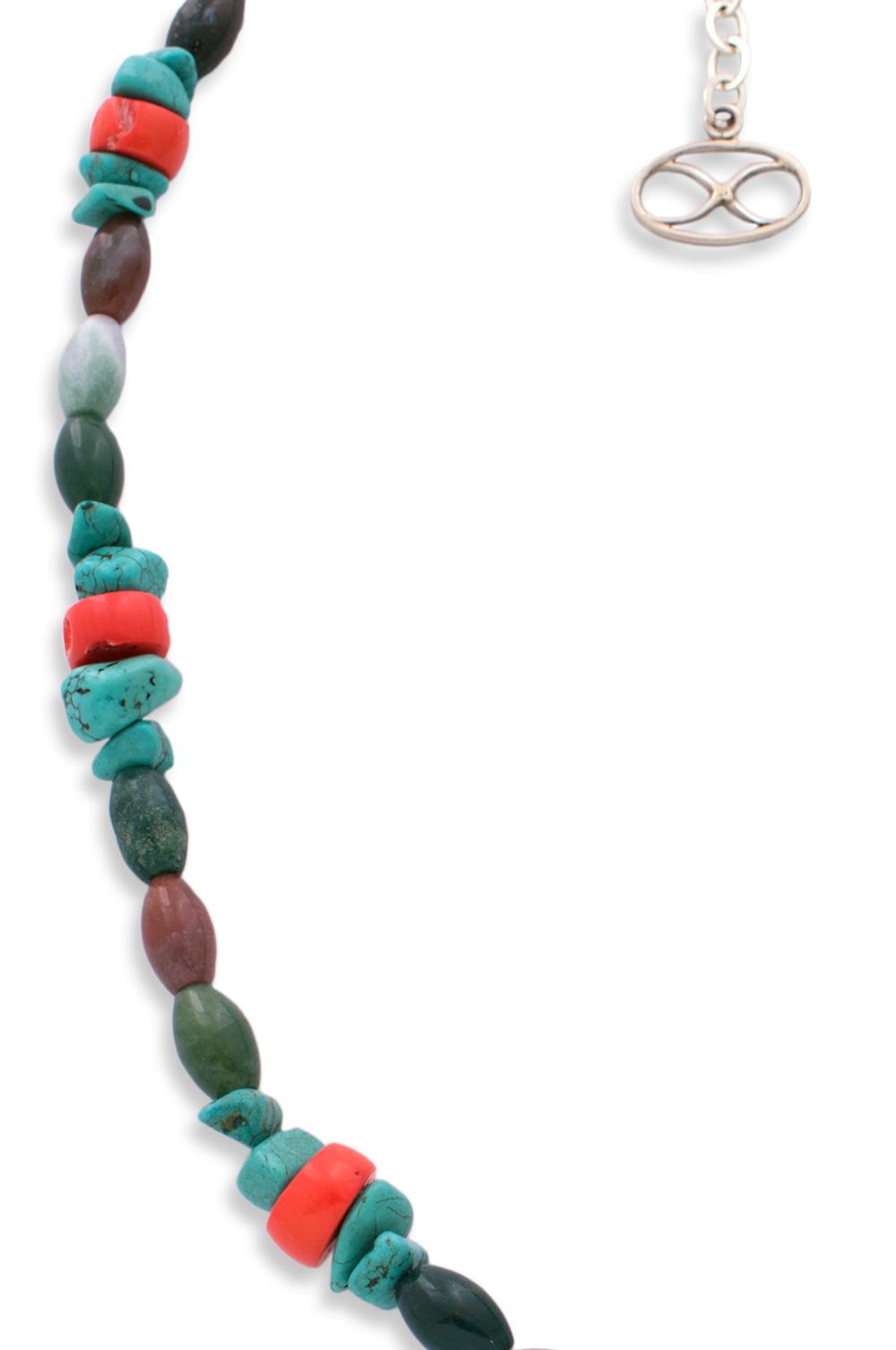 Coral Turquoise Agate Beaded Necklace by SHIKHAZURI