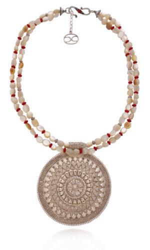 Ethnic Filigree Statement Silver Pendant Necklace by SHIKHAZURI