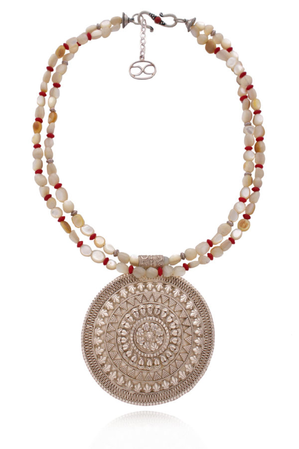 Ethnic Filigree Statement Silver Pendant Necklace by SHIKHAZURI