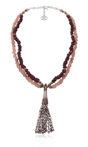 Ethnic Silver Dangle Pendant Necklace by SHIKHAZURI