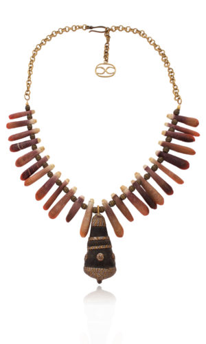 Exotic African Sea Urchin Spine Bead Necklace by SHIKHAZURI