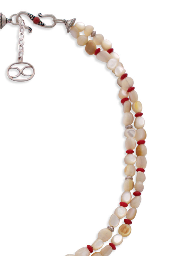 Mother Of Pearl Coral Bead Necklace by SHIKHAZURI