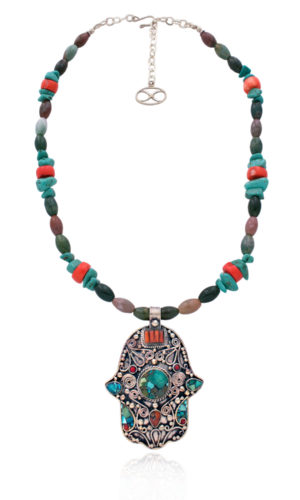 Statement Moroccan Hamsa Pendant Necklace by SHIKHAZURI
