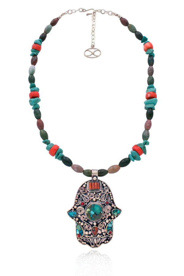 Statement Moroccan Hamsa Pendant Necklace by SHIKHAZURI