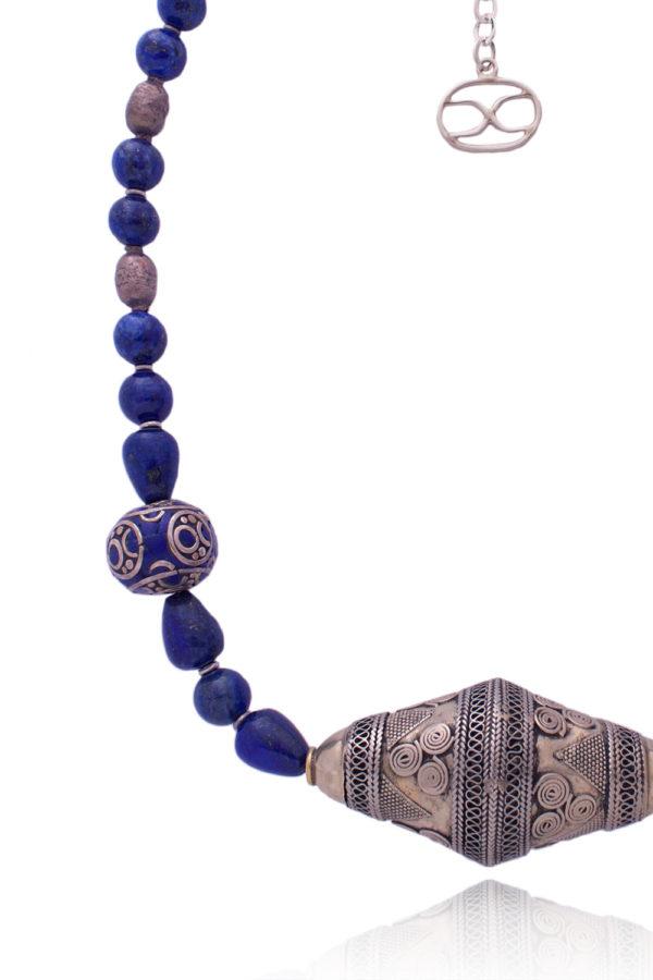 Tibetan Silver Lapis Lazuli Bead by SHIKHAZURI