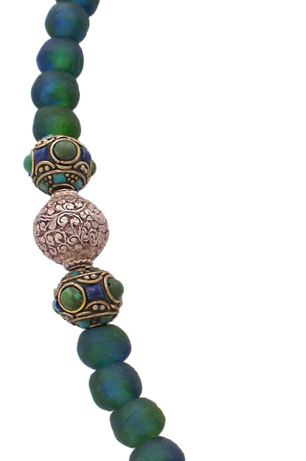 Tibetan Turquoise Amazonite Silver Beads Statement Necklace by SHIKHAZURI