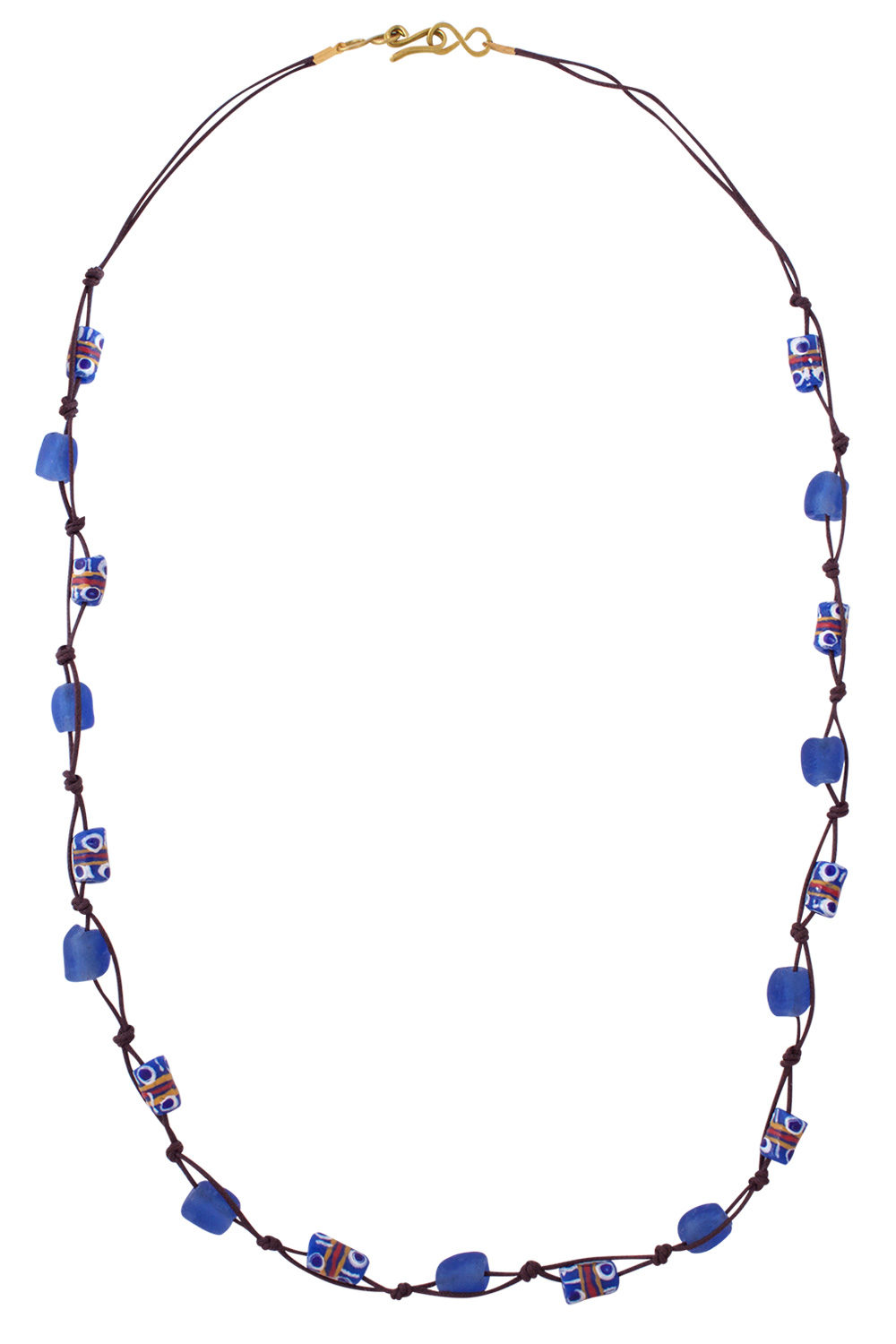 Blue Jiona Brown Knot Necklace by SHIKHAZURI