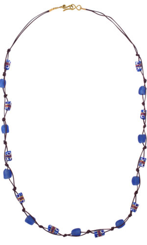 Blue Trade Beads Cotton Cord Necklace by SHIKHAZURI