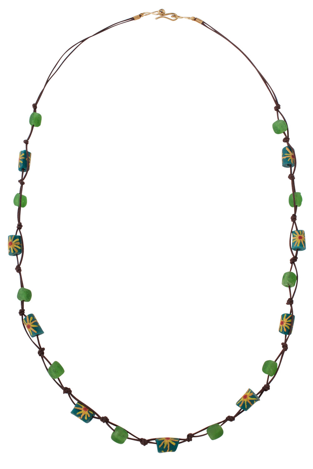 Green Jiona Brown Knot Necklace by SHIKHAZURI