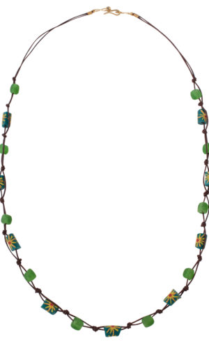 Green Trade Beads Cotton Cord Necklace by SHIKHAZURI