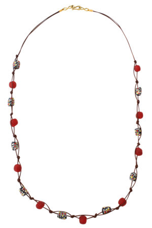 Red Jiona Brown Cord Necklace by SHIKHAZURI