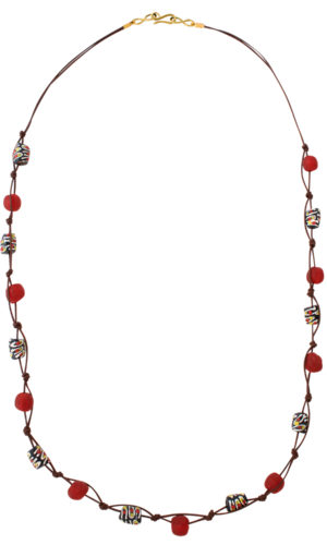 Red Trade Beads Cotton Cord Necklace by SHIKHAZURI