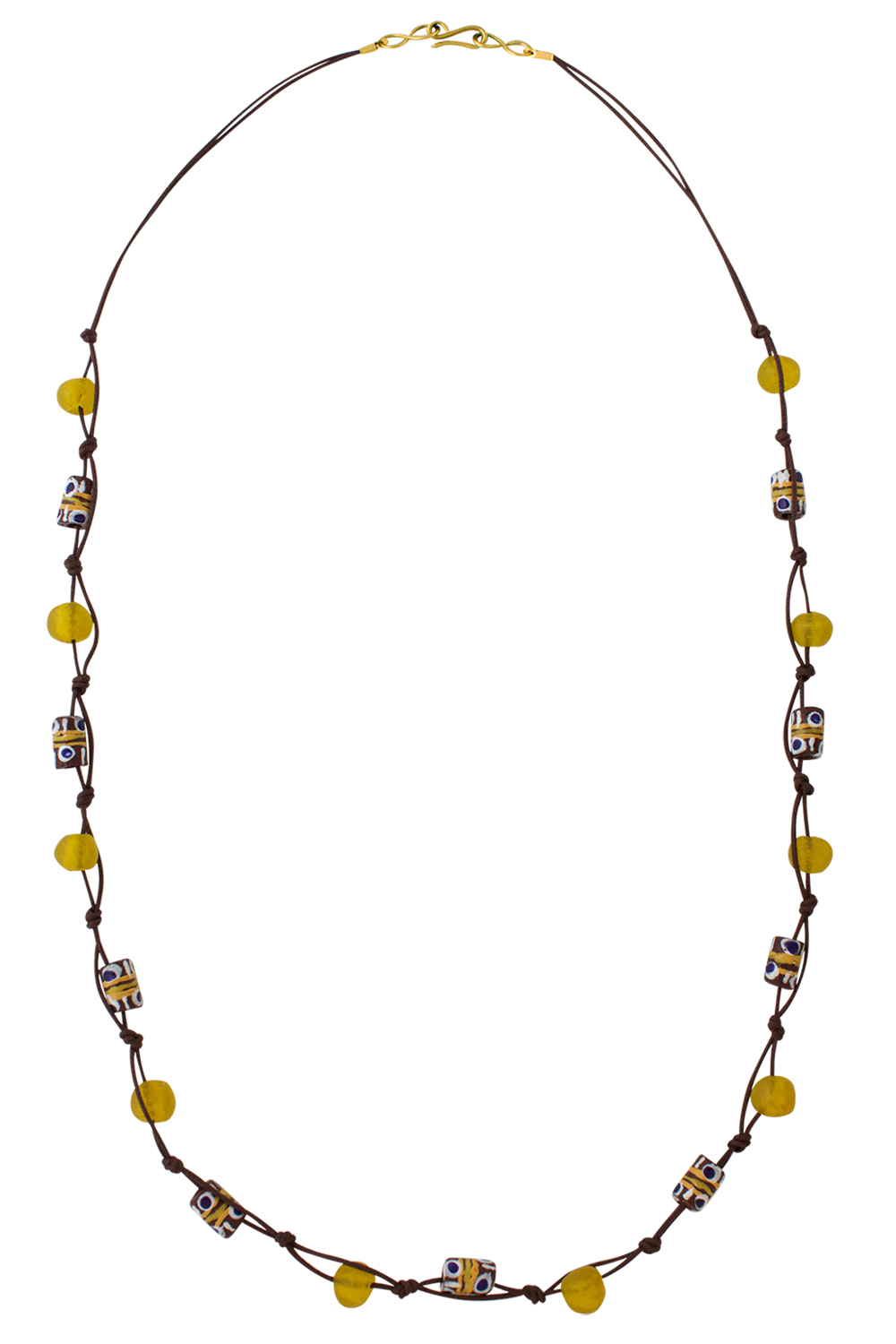 Yellow Trade Beads Cotton Cord Necklace by SHIKHAZURI