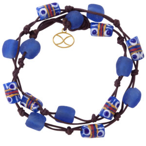 Blue Trade Beads Cotton Wrap Bracelet by SHIKHAZURI