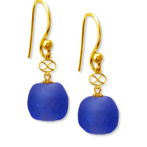 Blue Trade Bead Earrings by SHIKHAZURI