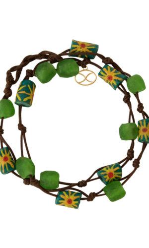 Green Kuwili Wrap Bracelet by SHIKHAZURI