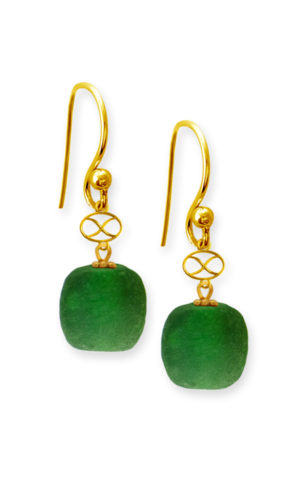Green Trade Bead Earrings by SHIKHAZURI