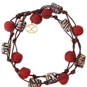 Red Kuwili Wrap Bracelet by SHIKHAZURI