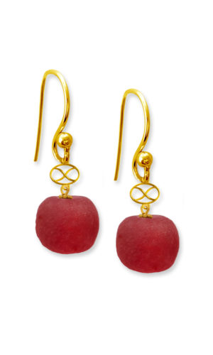 Red Trade Beads Earrings by SHIKHAZURI