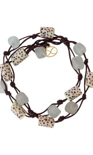 White Trade Beads Cotton Cord Wrap Bracelet by SHIKHAZURI
