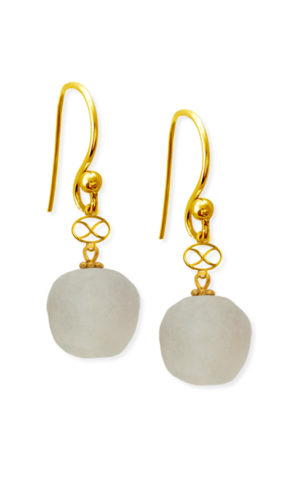 White Trade Bead Earrings by SHIKHAZURI