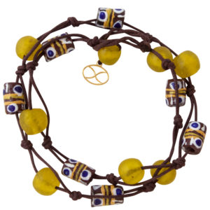 Yellow Kuwili Wrap Bracelet by SHIKHAZURI