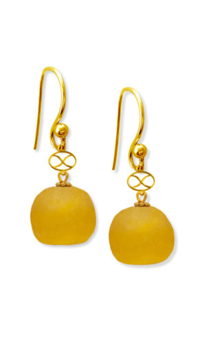 Yellow Trade Bead Earrings by SHIKHAZURI