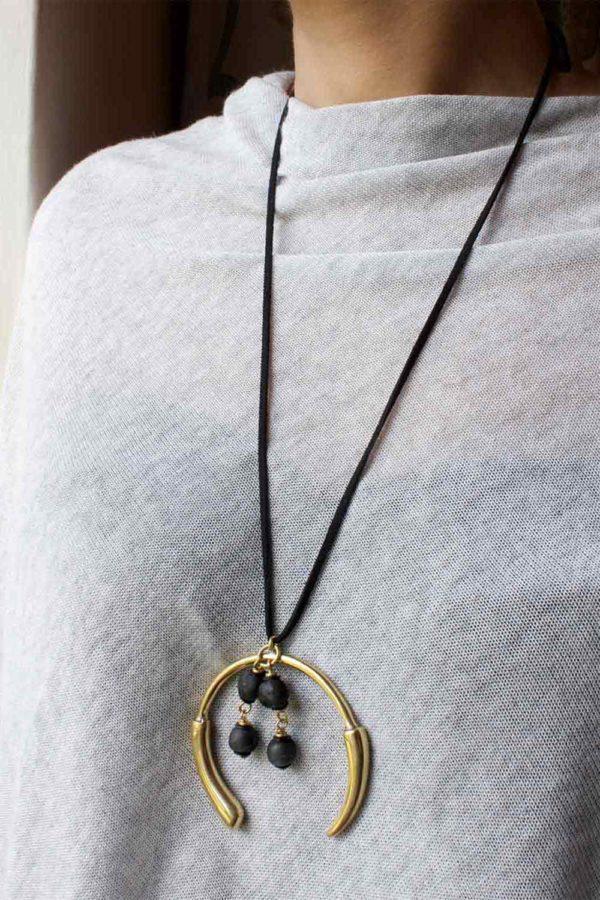 Black Aza long suede necklace by SHIKHAZURI