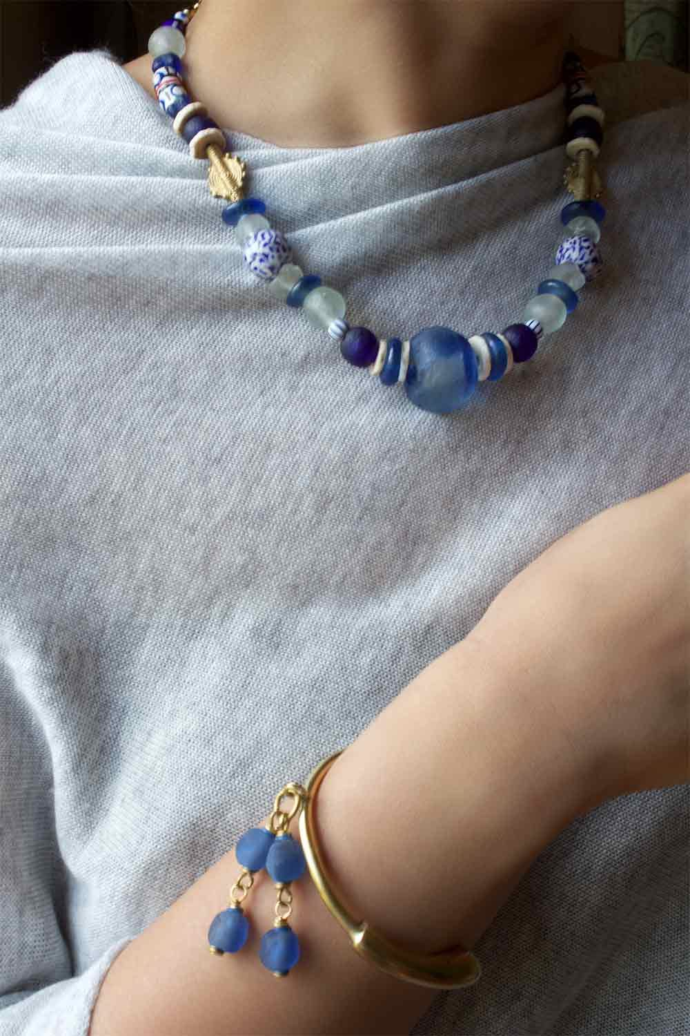 Blue Nadira Necklace and Bangle SHIKHAZURI