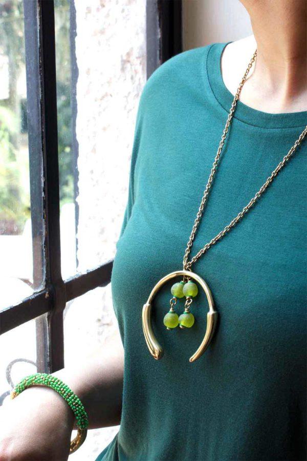Green Aza Grand Necklace by SHIKHAZURI