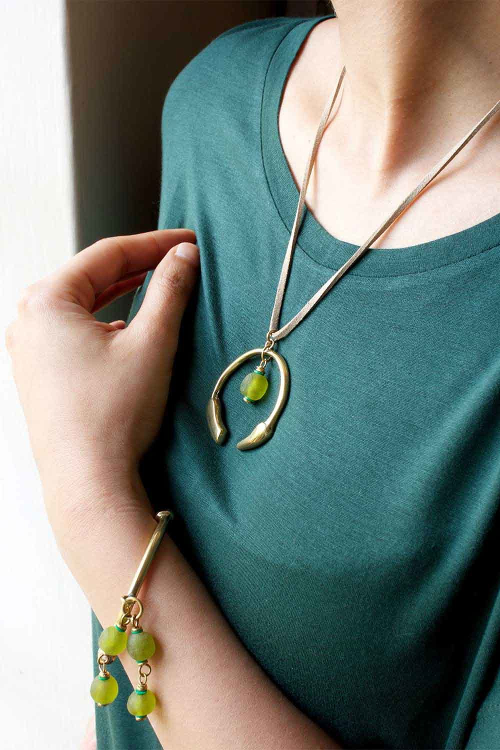 Green Aza Bangle and Small Necklace by SHIKHAZURI