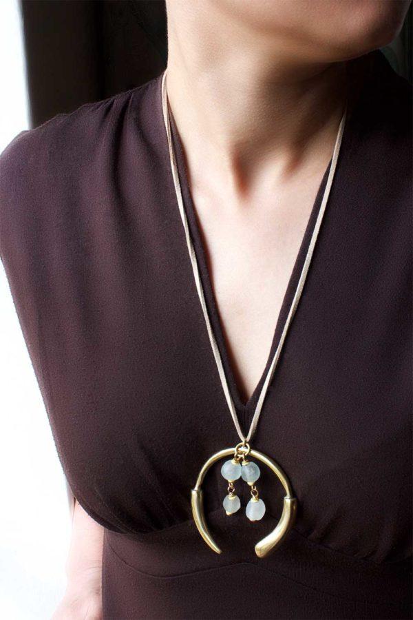White Long Aza Necklace on Suede by SHIKHAZURI