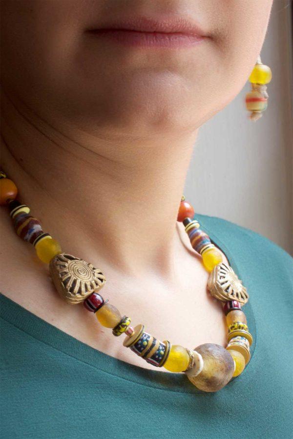 Yellow Nadira Necklace model by SHIKHAZURI
