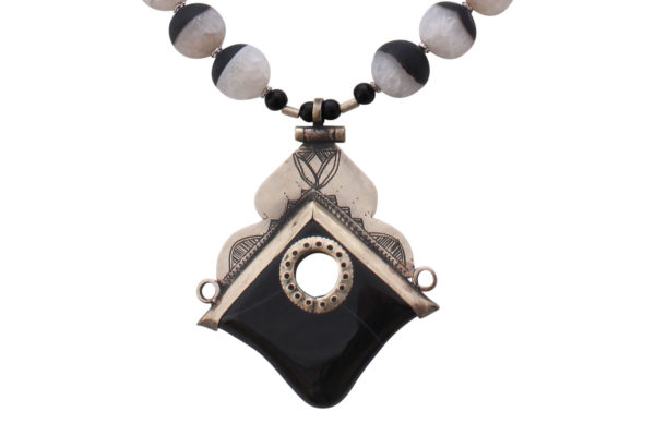 Aysen Black Agate Silver Tuareg Pendant by SHIKHAZURI