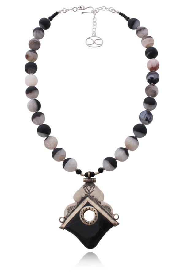 Aysen Black Agate Tuareg Pendant Necklace by SHIKHAZURI