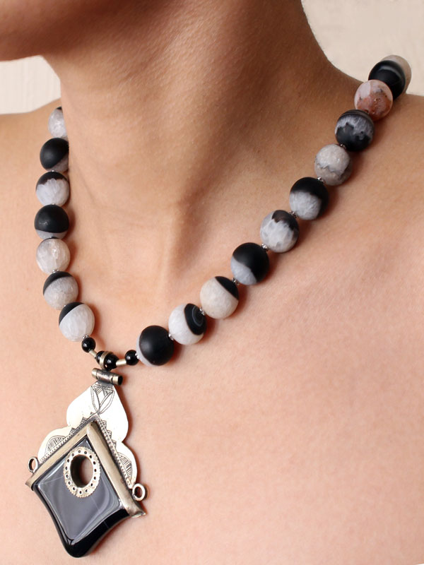 Aysen Black White Tuareg Necklace by SHIKHAZURI