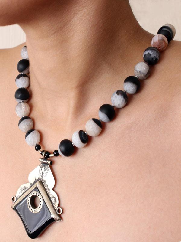 Aysen Black White Tuareg Necklace by SHIKHAZURI