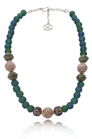 Aziza Tibetan Beads Statement Fusion Necklace by SHIKHAZURI