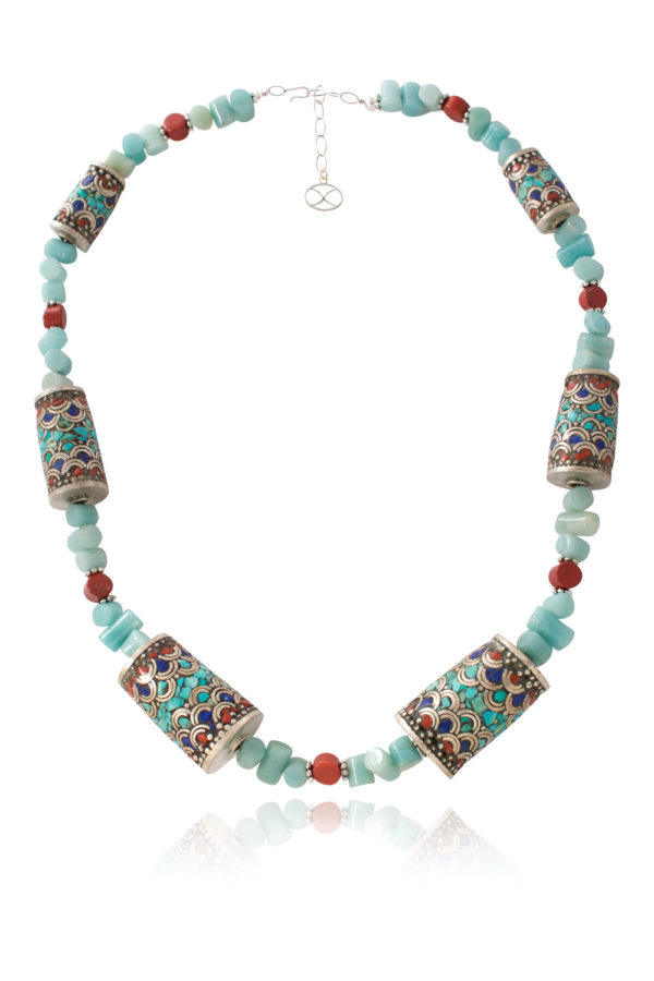 Biela Blue and Red Tibetan Gemstone Necklace by SHIKHAZURI