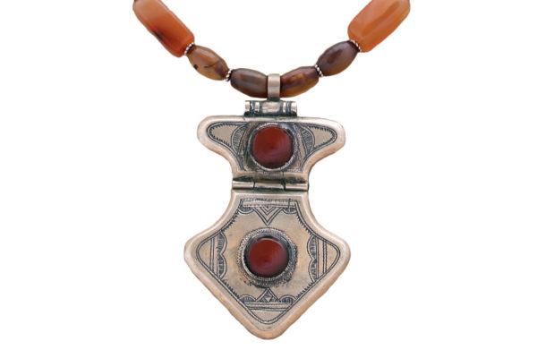 Callidora Silver Carnelian Tuareg Pendant Necklace by SHIKHAZURI