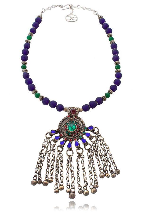 Chandraki Kuchi Peacock Necklace by SHIKHAZURI