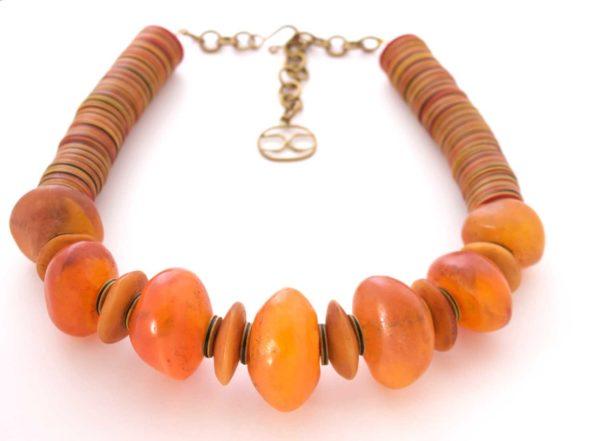 Jwahir Amber Upcycled Horn Bead Necklace by SHIKHAZURI