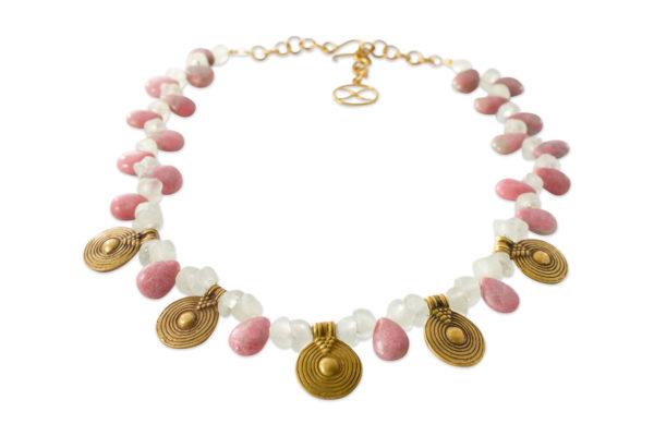 Kaya Rhodonite Glass Flower Beads Necklace by SHIKHAZURI