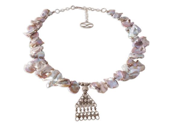 Kiyomi Freshwater Pearl Necklace Silver Pendant by SHIKHAZURI